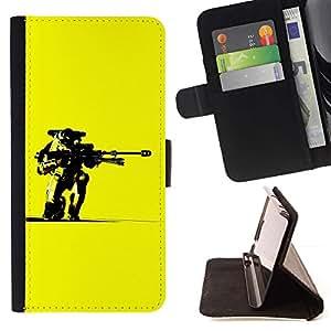 Momo Phone Case / Flip Funda de Cuero Case Cover - Amarillo Robot Pistola Arte Guerrero Futurismo Ai - Sony Xperia Z1 L39