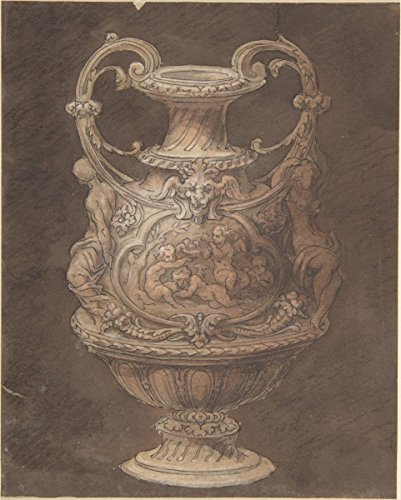 19th Century Urn - Historic Pictoric Fine Art Print | Italian, Early 19th Century | Design for an Urn with Four Putti in Central Cartouche | Vintage Wall Art | 11in x 14in
