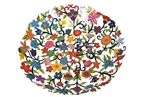 Fruit Bowl Serving Salad Centerpiece - Yair Emanuel LARGE BOWL LASER CUT HAND PAINTING FLOWERS (Cor Fruit Bowl)