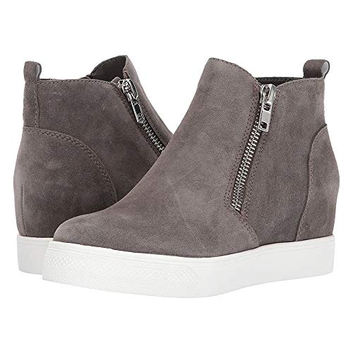 (Enjoybuy Womens High Top Hidden High Heel Wedge Sneakers Casual Zip Up Ankle Booties (8 B(M) US, 01-Dark Grey))