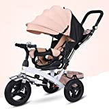 QXMEI Children's Tricycle Trolley 1-3-2-6 Year Old Child's Bicycle With Awning,Beige