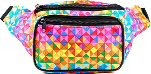 SoJourner Holographic Rave Fanny Pack - Packs for festival women, men | Cute Fashion Waist Bag Belt Bags (Rainbow ()