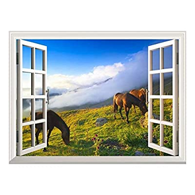 Wall Mural ( Horses Grazing) - Peel & Stick Posters