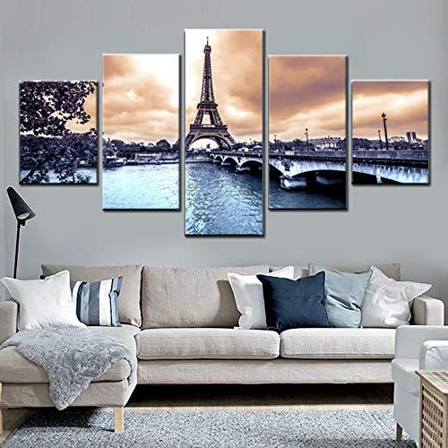 5 Paneles Cuadros Torre Eiffel 200x100cm Pinturas sobre Lienzo Artes de la Pared Impresiones de la Lona Modular Poster Moderna Impresa HD Al Oleo Creatividad Decoracion del Hogar