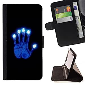 BETTY - FOR Samsung Galaxy A3 - Glowing Blue Hand - Style PU Leather Case Wallet Flip Stand Flap Closure Cover