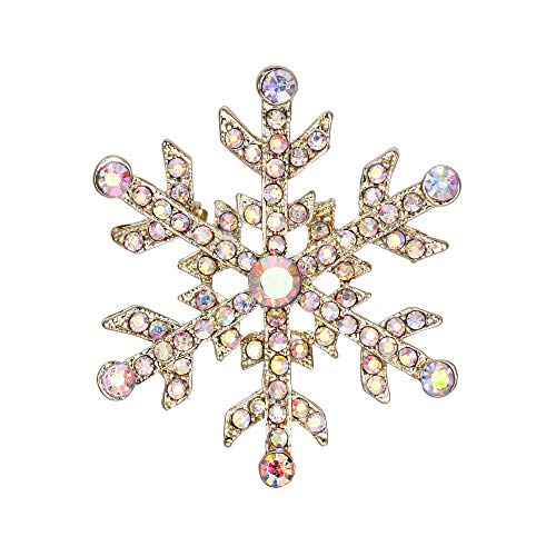 EVER FAITH Austrian Crystal Elegant Winter Snowflake Flower Brooch Pin Iridescent Clear AB Gold-Tone ()