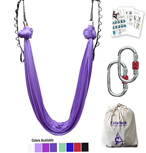 - F.Life Aerial Yoga Hammock 5.5 Yards Include Daisy Chain,Carabiner and Pose Guide (Lavendar)