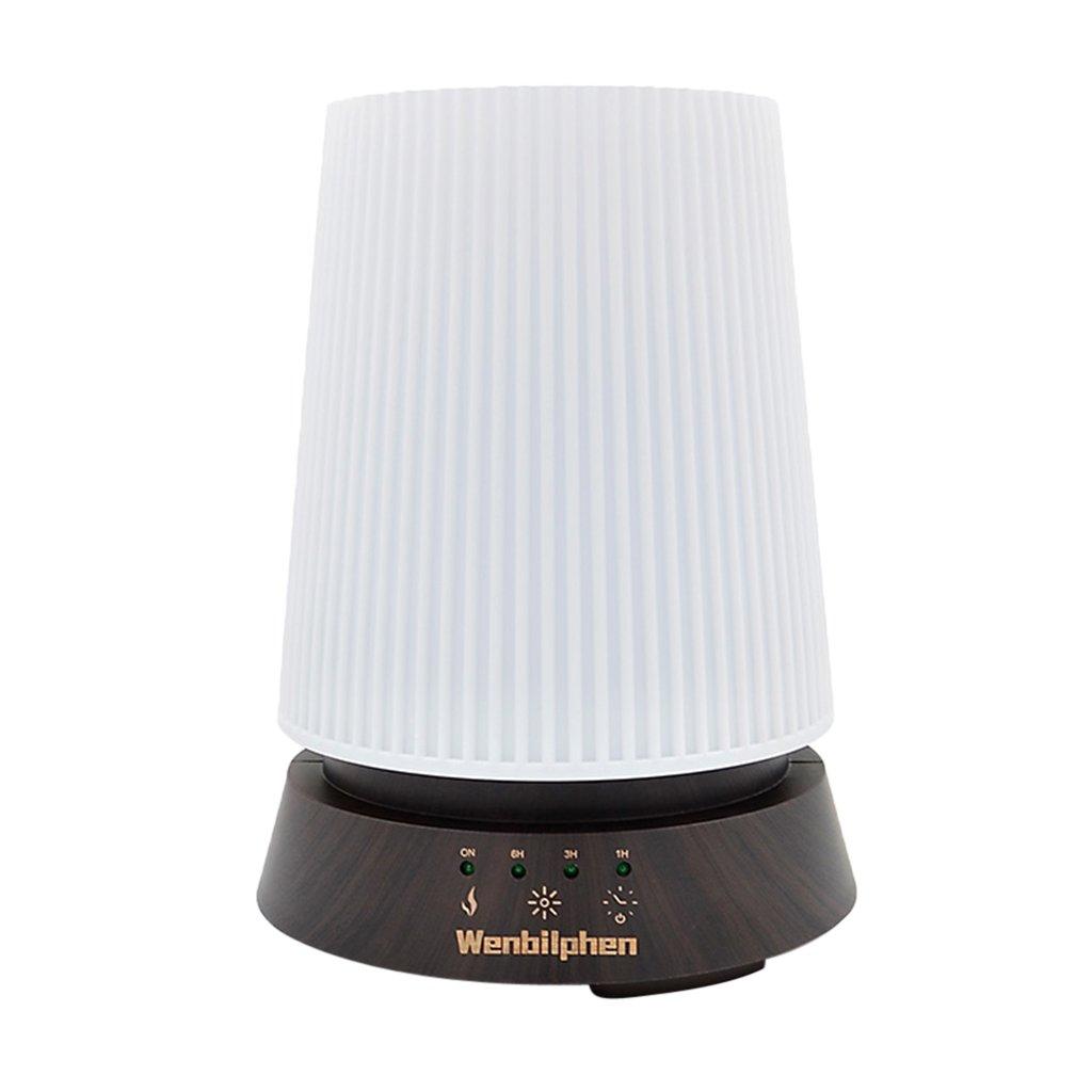 MagiDeal 350ML LED Aromatherapy Aroma Diffuser- Round Ultrasonic Humidifier US Plug - Dark-Colored Wood