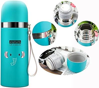 DMZK Botella de Agua de Acero Inoxidable niños, Diseño Elefante para Mantener Agua Caliente y Fría, 500 ML Azul