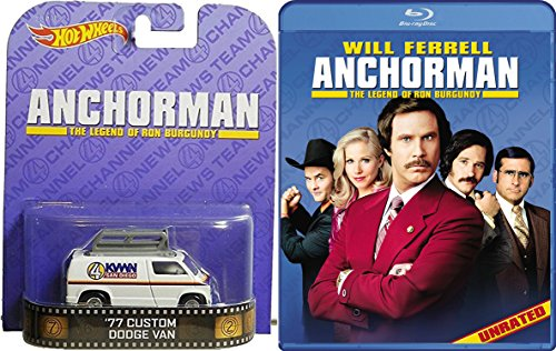 Anchorman: The Legend of Ron Burgundy Blu Ray with Hot Wheels News Channel 4 Van Will Farrel Set