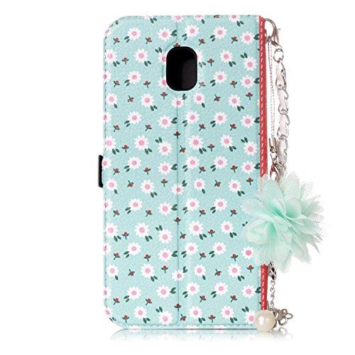 Samsung Galaxy J3 2017 Hülle , COZY HUT Ultra Slim Schutzhülle für Samsung Galaxy J3 2017 Multi-function Wallet Case Hülle 2 in 1 Detachable Kette Cover Case Leather hülle Tasche Schutzhülle Etui Flip Falten Daisy