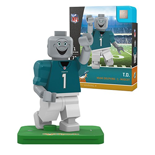 NFL Miami Dolphins Gen4 Limited Edition T.D. Mascot Mini Figure, Small, White -