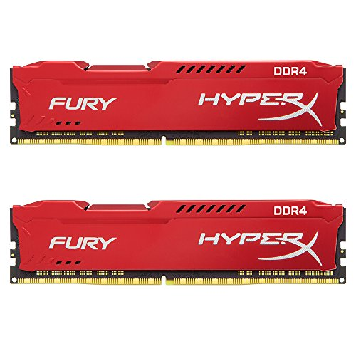 Kingston Technology HyperX FURY Red 16GB 2400MHz DDR4 CL15 DIMM Kit of 2 1Rx8 (HX424C15FR2K2/16) by HyperX