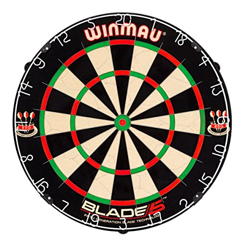 Winmau Blade 5 Bristle Dartboard with All-New Thinner Wiring for Higher Scoring and Reduced Bounce-Outs