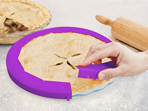 Party Hero Silicone Pie Crust Shield Adjustable Pie Protectors, BPA-free Silicone   8.5'' - 11.5'' Pie Pan Baking Dish, Purple (2 Pack) - Heat Resistant up To 446 Degree by Party Hero (Image #3)