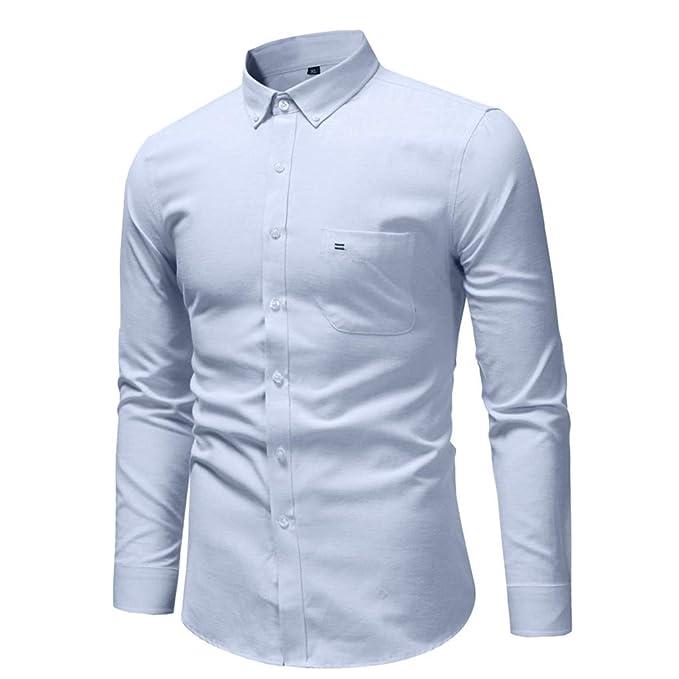 671ed90006b Sencillo Vida Camisas Blancas Hombre Manga Larga Camisas de Hombre Formales  Color Sólido Camisas de Hombre