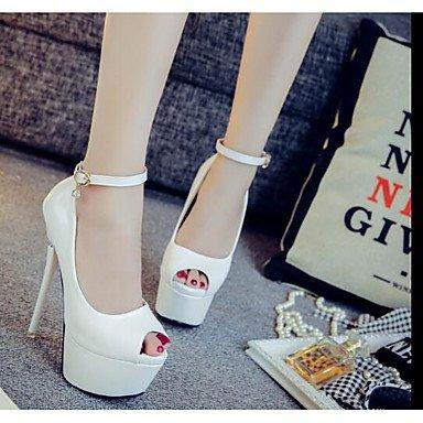 pwne Les talons de femmes Club Printemps Chaussures occasionnels de PU talon noir blanc rouge blanc US5.5 / EU36 / UK3.5 / CN35