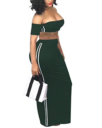 045a9505c3 Womens 2 Piece Outfits Dress Maxi Skirt Set Stripe Strapless Crop Top Long  Skirts Dresses Army