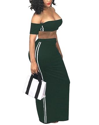 2a4604cf03 Womens 2 Piece Outfits Dress Maxi Skirt Set Stripe Strapless Crop Top Long Skirts  Dresses Army
