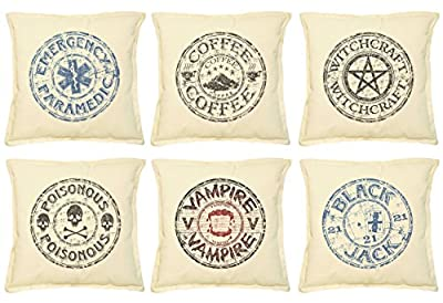 Stamp And Symbol Printed Khaki Throw Pillow Cushion Case VPLC_02 Size 18x18