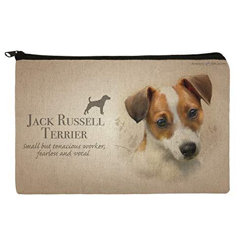 Jack Russell Terrier Dog Breed Pencil Pen Organizer Zipper Pouch Case
