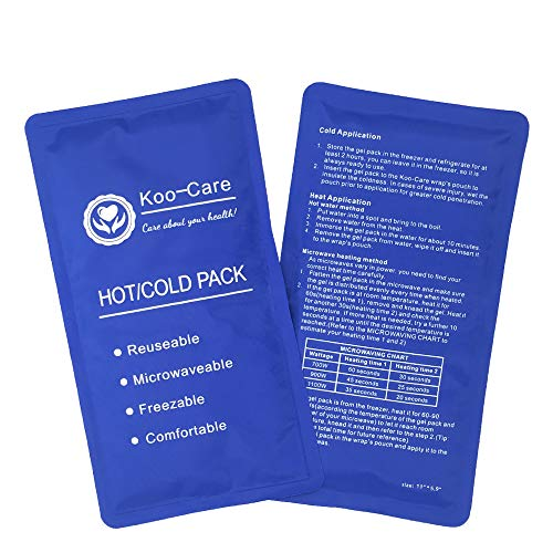 Koo-Care Flexible Gel Ice Pack for Hot Cold Therapy - Set of 2 - Great for Migraine Relief, Sprains, Muscle Pain, Bruises, Injuries (Medium, 11