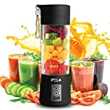Portable Blender Cup Electric Juicer, Travel Blender, Portable Blender For Shakes and Smoothies, Small Fruit Juicer, 6 Blades, 380ml (Black) with Protective Sleeve