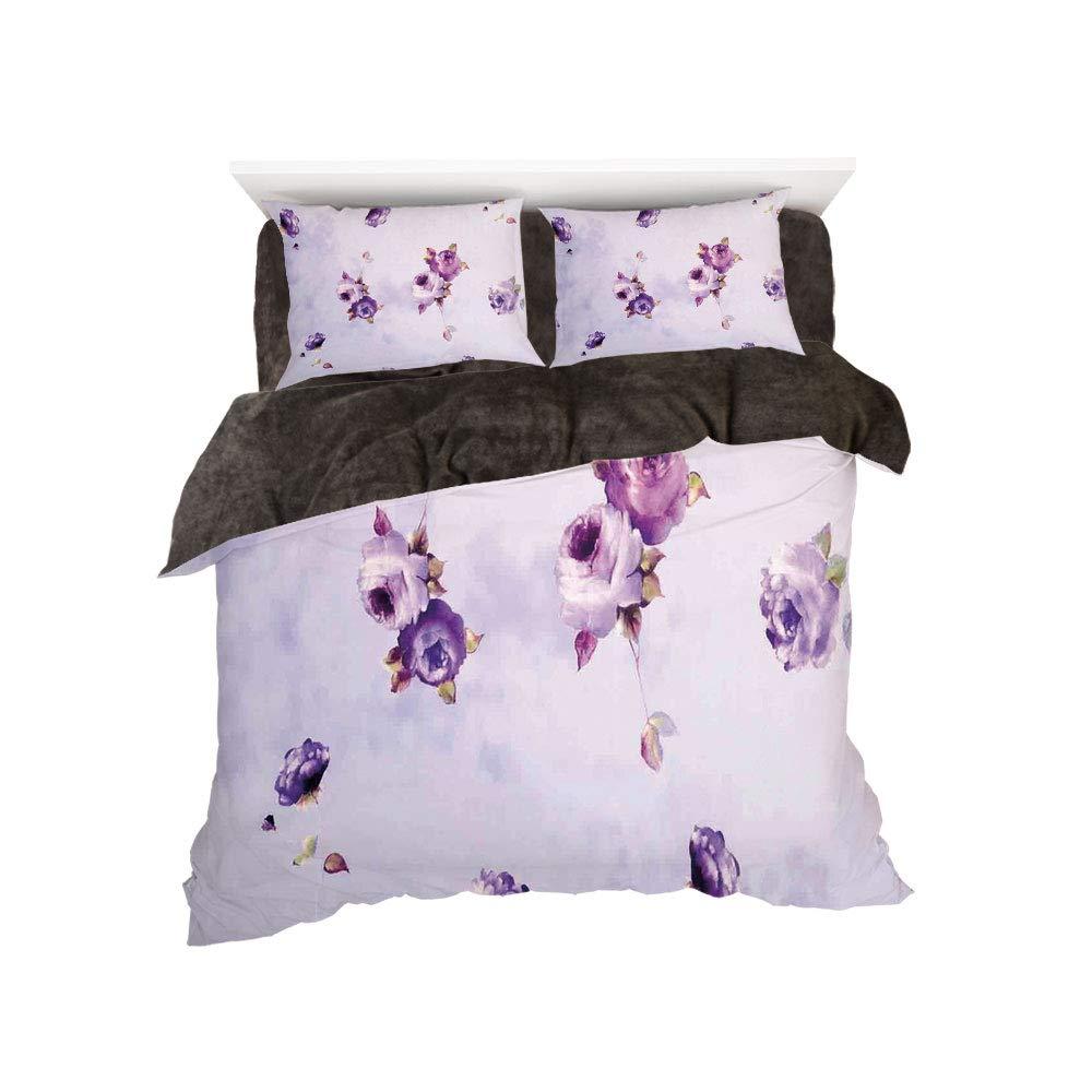 iPrint フランネル布団カバー4点セット ベッドリネン 冬休み柄 バラの装飾 バラと古い愛の文字を組み合わせた芸術的なワーク ノスタルジックデザイン アンティーク ピンククリーム bed width 5ft(150cm) BotingFLR_hei_16748_queen 150 B07L1XTL3G カラー8 bed width 5ft(150cm)