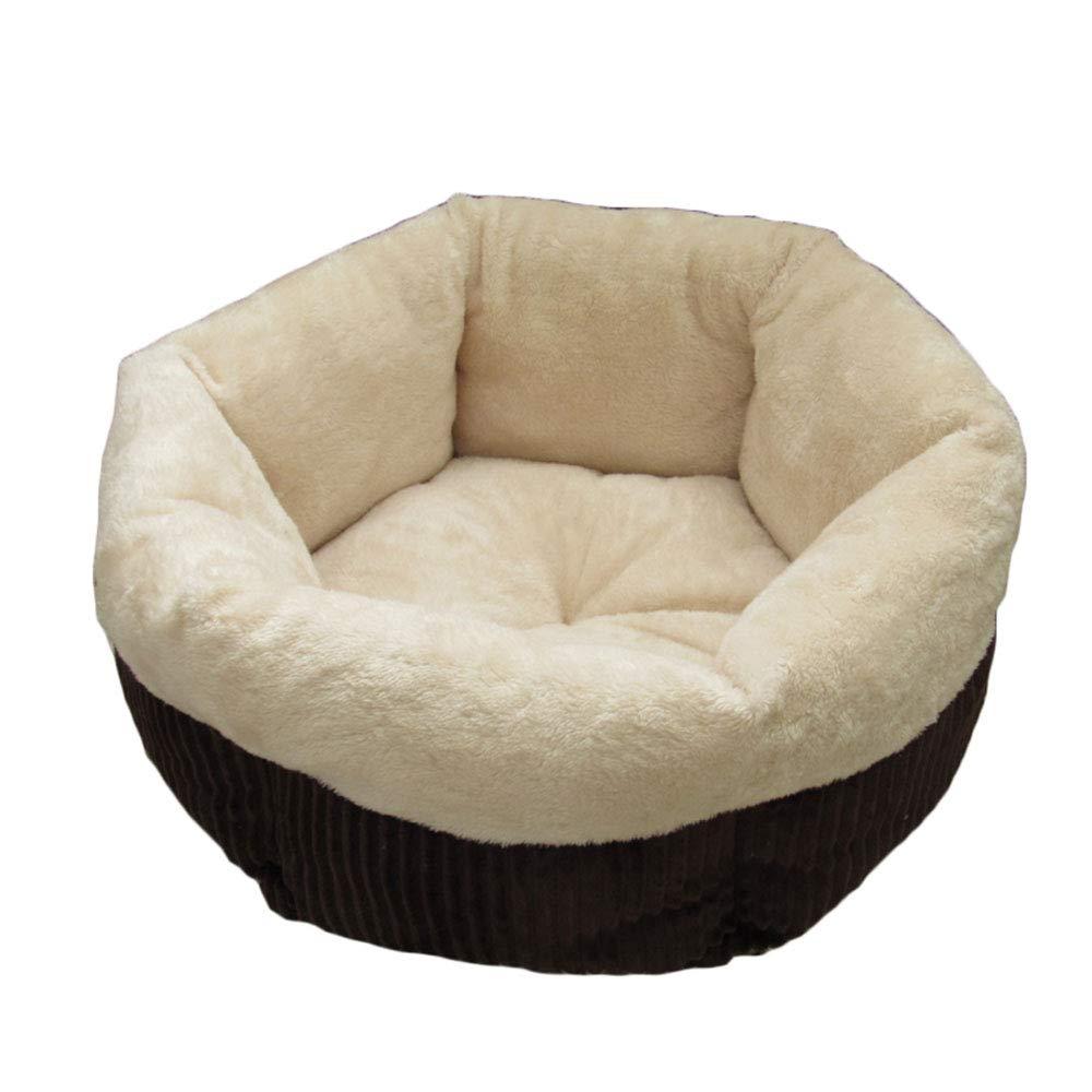 Beige 4523cmPet nest Corduroy PP cotton mattress Suitable for dogs, cats, etc. Pet nest (color   BROWN, Size   45  23cm)