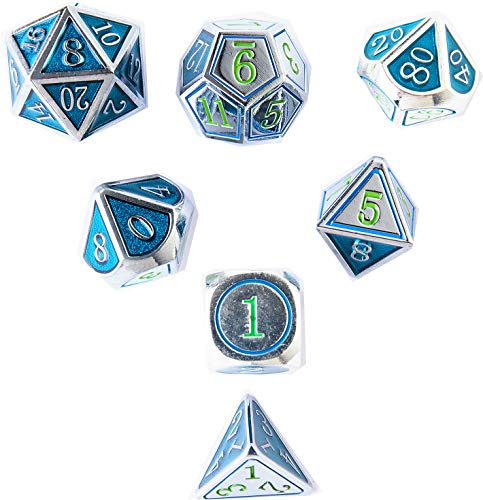 (DND Metal Game Dice Set 2019 Newly Chic Serial Double-Colors Silver Atrovirens and Silver Edge 7pc Set for Dungeons and Dragons RPG MTG Table Games D4 D6 D8 D10 D12 D20)