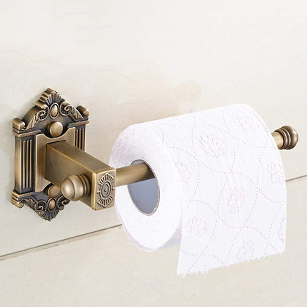 Q&F Wall Mount Toilet Paper Holder,Tissue Roll Hanger,Retro Tissue Holder - Waterproof, Moisture Proof,Rust Protection,Brass-Retro color