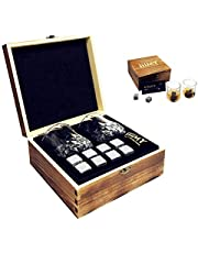 Whisky Stones and Glasses Gift Set, Cyrstal Old Fashioned Whisky Glasses Set of 2, Whisky Chilling Rocks in Handmade Wooden Box- Cool Drinks Without Dilution, Christmas Gift, Birthday Present - iiiMY