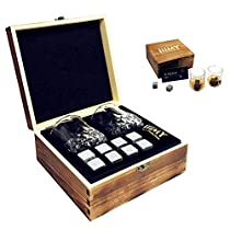 Whisky Stones and Glasses Gift Set, Cyrstal Old Fashioned Whisky Glasses Set of 2, Whisky Chilling Rocks in Handmade Wooden Box- Cool Drinks Without Dilution, Christmas Gift, Birthday Present -iiiMY