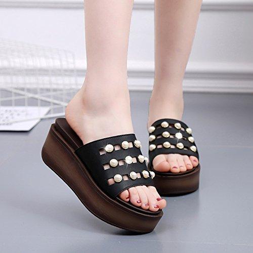 la noir à femmes diamantées femmes mode Couleur Pantoufles lacets Chaussures UK5 Noir de marron HAIZHEN blanc chaussures 5cm été taille EU38 CN38 pour Pour 6 5 Blanc à fraîches qERwIn8T