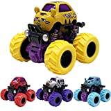 4 Packs Rotating Die Cast Vehicles Trucks Toys,Big Tire Wheel Car Set,Push and Go Car Toy,Toddler Toys Best Gift for Kids -for 2+ Year Old Boys Girls(Random Colors)