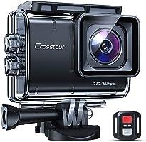 Crosstour CT9700 Echte 4K 50fps Action Cam Touchscreen LDC EIS Unterwasserkamera (Fernbedienung Ladegerät 20MP Wi-Fi 40M...
