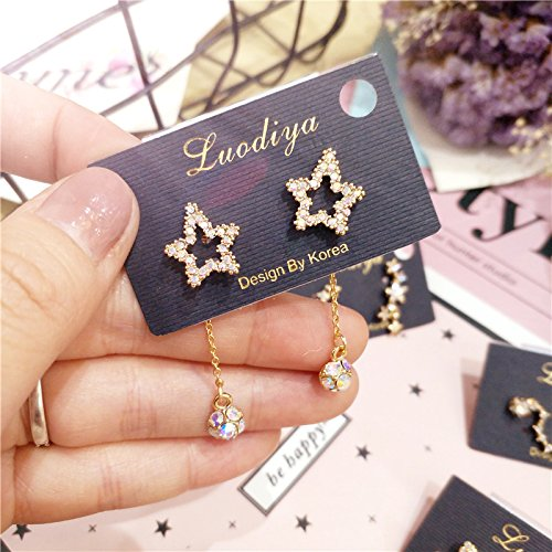 Small Earrings Earring Dangler Eardrop Spring Princess Style Unique Luxury Full Diamond Light Delicate Little Stars (Five-Pointed Star Diamond Pendant Around Money