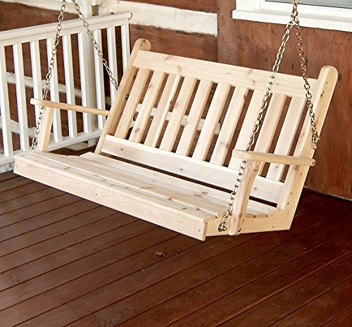 Cedar Porch Swing, Amish Outdoor Hanging Porch Swings, Patio Wooden 2 Person Seat Swinging Bench, Weather Resistant Western Red Cedar Wood, 6 Styles (4ft, Traditional Unfinished (Western Red Cedar Swing)