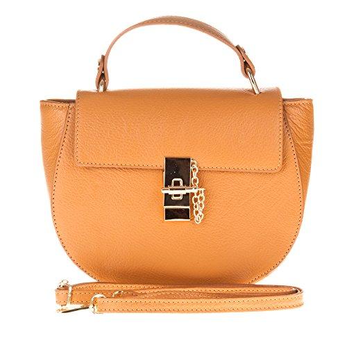Firenze Artegiani Bolso Satchel Piel Auténtica, Acabado Ruga Messenger Bag, 24 cm, Orange (Naranja ()