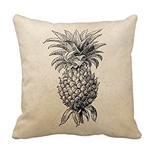 pillow perfect Decorative Cotton 18 X 18 Twin Sides Vintage 1800S Pineapple Illustration Pineapples Throw Pillowcases