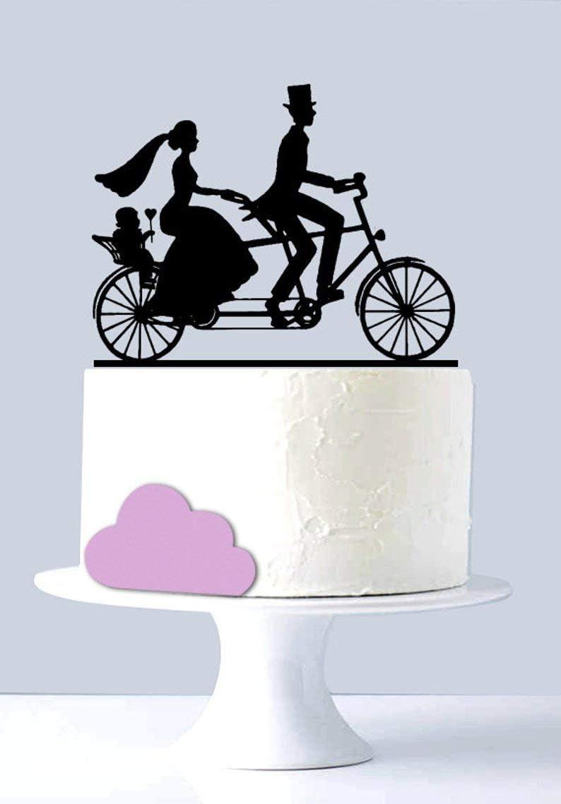 Mr and Mrs - Decoración para tarta de bicicleta, diseño con texto ...