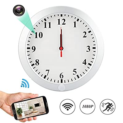 MINGYY 1080P WiFi Spy Hidden Camera Wall Clock Motion Detection Video Camera Remote View Camcorder Baby Pet Nanny Monitor Cameras for Home Surveillance Security from WH47-MY02-WHC