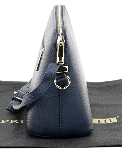 Bag Includes Sacchi Crossbody Textured a Primo Strap Navy Triangular Small Adjustable Storage Bag Blue Leather Italian Branded Shoulder Protective vxdqwP