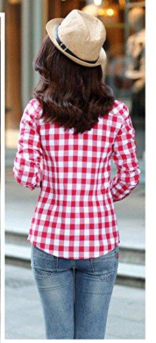 Chemises Chemisiers Automne Shirts Printemps Revers Rouge8 Grille Blouses Manches Mode et Slim Monika Tee Hauts Longues Casual Tops Femmes nxFIn1Z