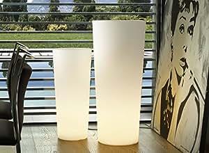 Macetero de plástico Isotronic–40x 40x 70cm, iluminado y color blanco perla, macetero, vidrio, grande, redondo