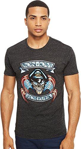 The Original Retro Brand Men's Bon Jovi Short Sleeve Tri-Blend Tee Streaky Black T-Shirt