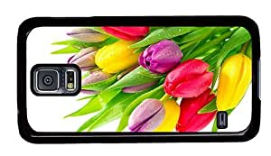 Hipster Samsung Galaxy S5 Case thinnest colorful tulips PC Black for Samsung S5