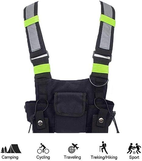 FOONEE Arnés de radio para el pecho, paquete frontal, funda para chaleco de radio, arnés para el pecho, bolsa para aparejos, chaleco fluorescente para hombres y mujeres (rescate esenciales): Amazon.es: Deportes y