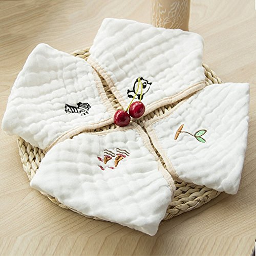 Baby Bandana Drool Bibs - Organic Absorbent Cotton Muslin Embroidery Burp Cloths with Snaps - Unisex Gift Sets for Drooling and Teething Baby (4 Pack)