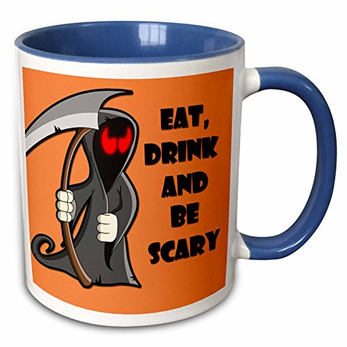 3dRose RinaPiro - Halloween Quotes - Eat, drink and be scary. Halloween funny quotes. Popular saying. - 15oz Two-Tone Blue Mug (mug_218445_11) -